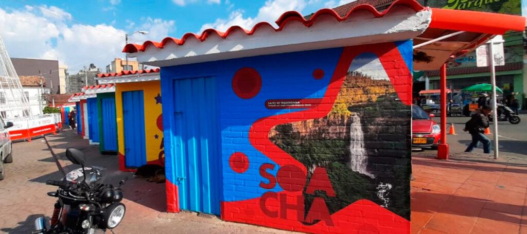 renovación de casetas en la plaza principal de Soacha